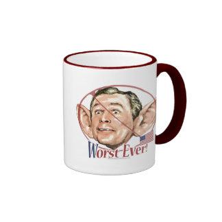 Worst Ever President Anti Bush Gear Ringer Coffee Mug