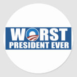 Worst President Ever Round Stickers