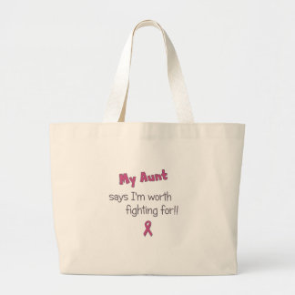 Worth Fighting For - Aunt - Breast Cancer Tote Bags