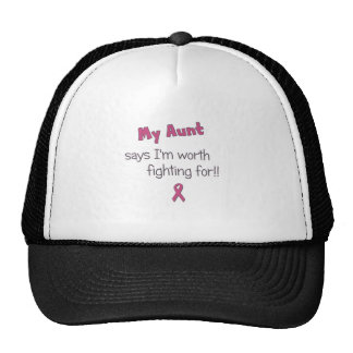 Worth Fighting For - Aunt - Breast Cancer Trucker Hat