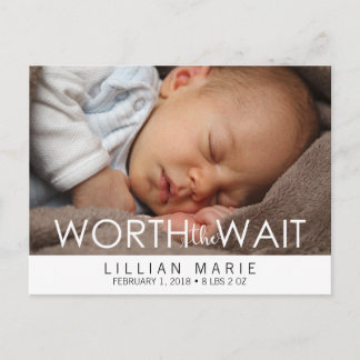 Worth the Wait | Baby Announcement Postcard