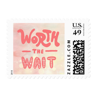 Worth the Wait Baby Girl Birth Announcement Stamps