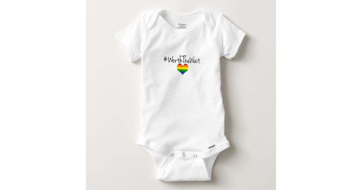 e45c94801b09 Worth The Wait Baby Onsie with Rainbow Heart Baby Onesie
