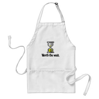 worth the wait pc hourglass icon adult apron