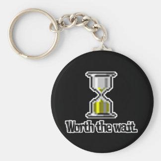 worth the wait pc hourglass icon keychain
