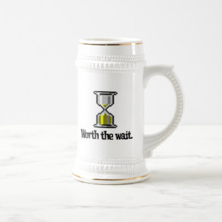 worth the wait pc hourglass icon 18 oz beer stein