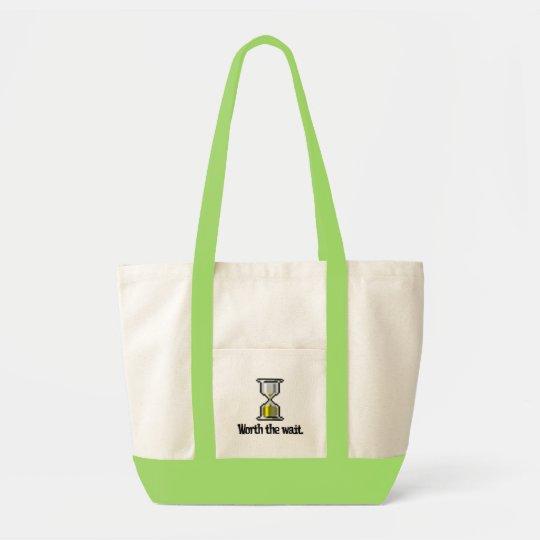 worth the wait pc hourglass icon tote bag