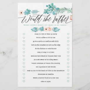 graphic relating to Would She Rather Bridal Shower Game Free Printable named Would She As a substitute Floral Boho Bridal Shower Match