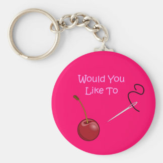 'Would You Like To' Basic Round Button Keychain