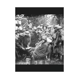 Wounded German prisoners receiving_War Image Canvas Print