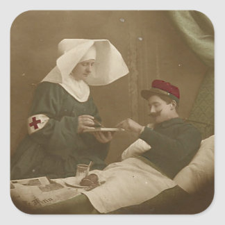 Wounded Soldier & French Nurse WWI Sticker