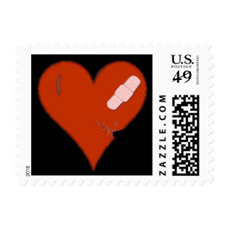 Wounded Tattered Torn Heart w/ a Bandaid on Black Postage