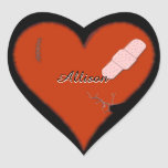 Wounded Tattered Worn Out Heart Design Heart Sticker
