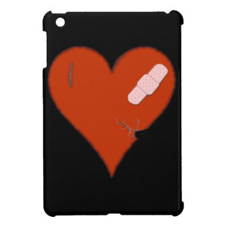 Wounded Tattered Worn Out Heart on Black Bckgrnd iPad Mini Cover