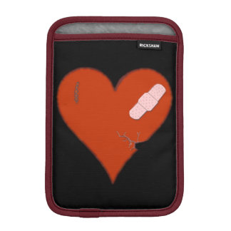 Wounded Tattered Worn Out Heart on Black Bckgrnd iPad Mini Sleeve