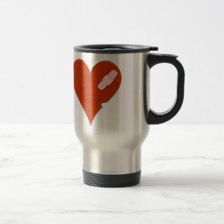 Wounded Tattered Worn Out Heart on Black Bckgrnd Travel Mug