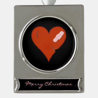 Wounded Tattered Worn Out Heart tags: Silver Plated Banner Ornament