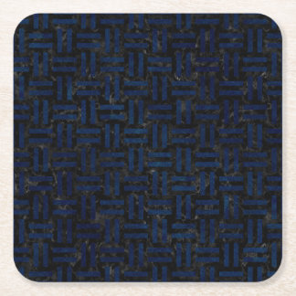 WOVEN1 BLACK MARBLE & BLUE GRUNGE SQUARE PAPER COASTER