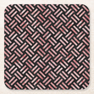 WOVEN2 BLACK MARBLE & RED & WHITE MARBLE SQUARE PAPER COASTER