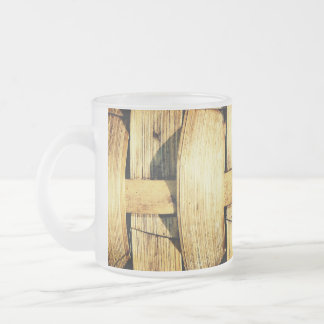 Woven Bamboo Strips - Tiki Torch Frosted Glass Coffee Mug