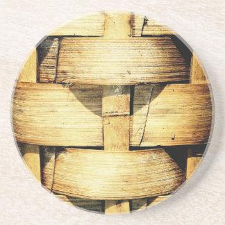 Woven Bamboo Strips - Tiki Torch Sandstone Coaster
