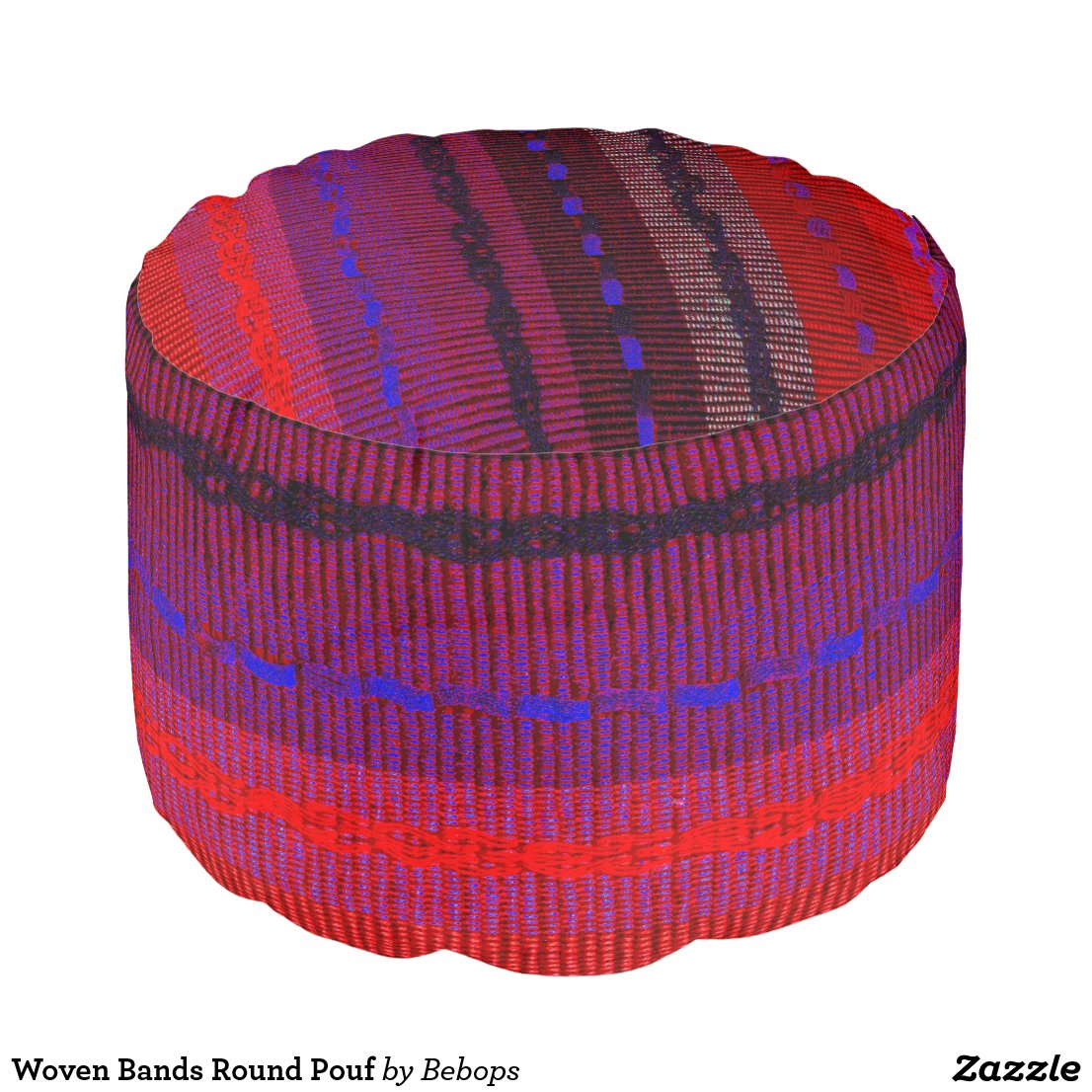 Woven Bands Round Pouf