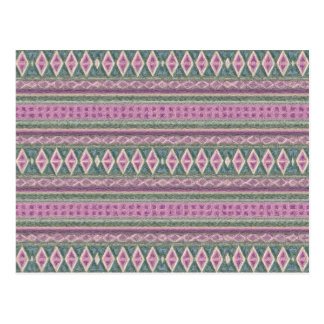 woven borders,pink post card
