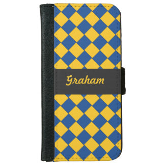 Woven Diagonal Tiles Blue and Yellow iPhone 6 Wallet Case