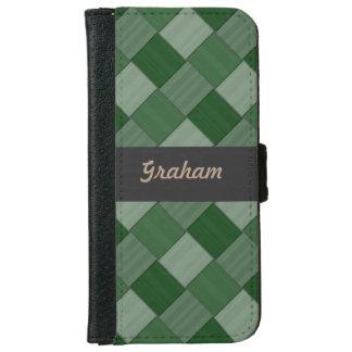 Woven Diagonal Tiles Forest Green iPhone 6 Wallet Case