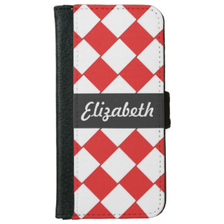 Woven Diagonal Tiles Red and White iPhone 6 Wallet Case