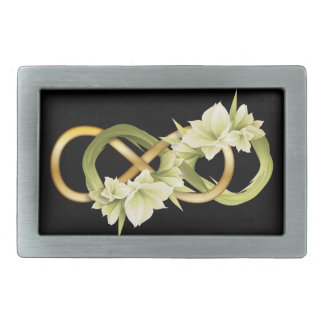Woven Double Infinity Cowlilies & Gold - Buckle 2 Rectangular Belt Buckle