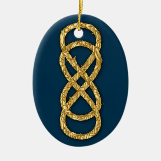 Woven Double Infinity Gold Straw on Deep Blue Ceramic Ornament
