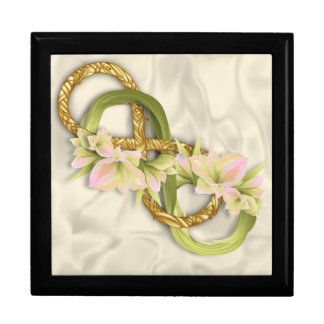 Woven Double Infinity in Gold & Cowlilies-White 2 Keepsake Box