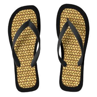 Woven Effect Black Trim Flip Flops