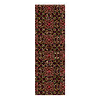 Woven effect Brown and Red X Repeating Pattern Double-Sided Mini Business Cards (Pack Of 20)