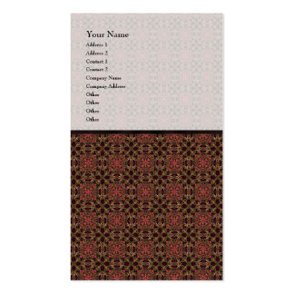 Woven effect Brown and Red X Repeating Pattern Double-Sided Standard Business Cards (Pack Of 100)
