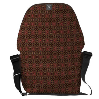 Woven effect Brown and Red X Repeating Pattern Messenger Bag