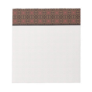 Woven effect Brown and Red X Repeating Pattern Notepads