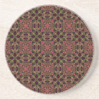 Woven effect Brown and Red X Repeating Pattern Sandstone Coaster