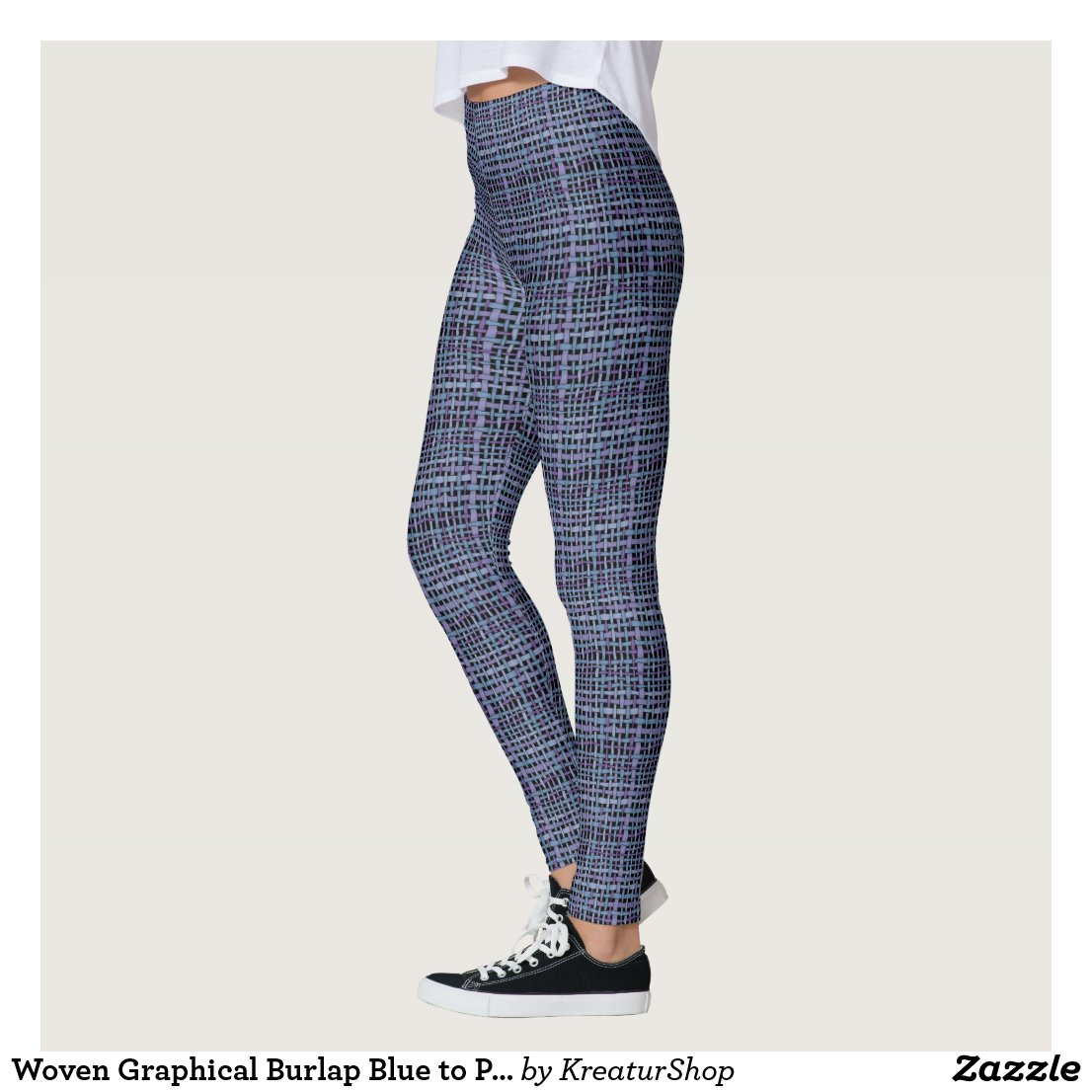 Woven Graphical Burlap Blue to Purple