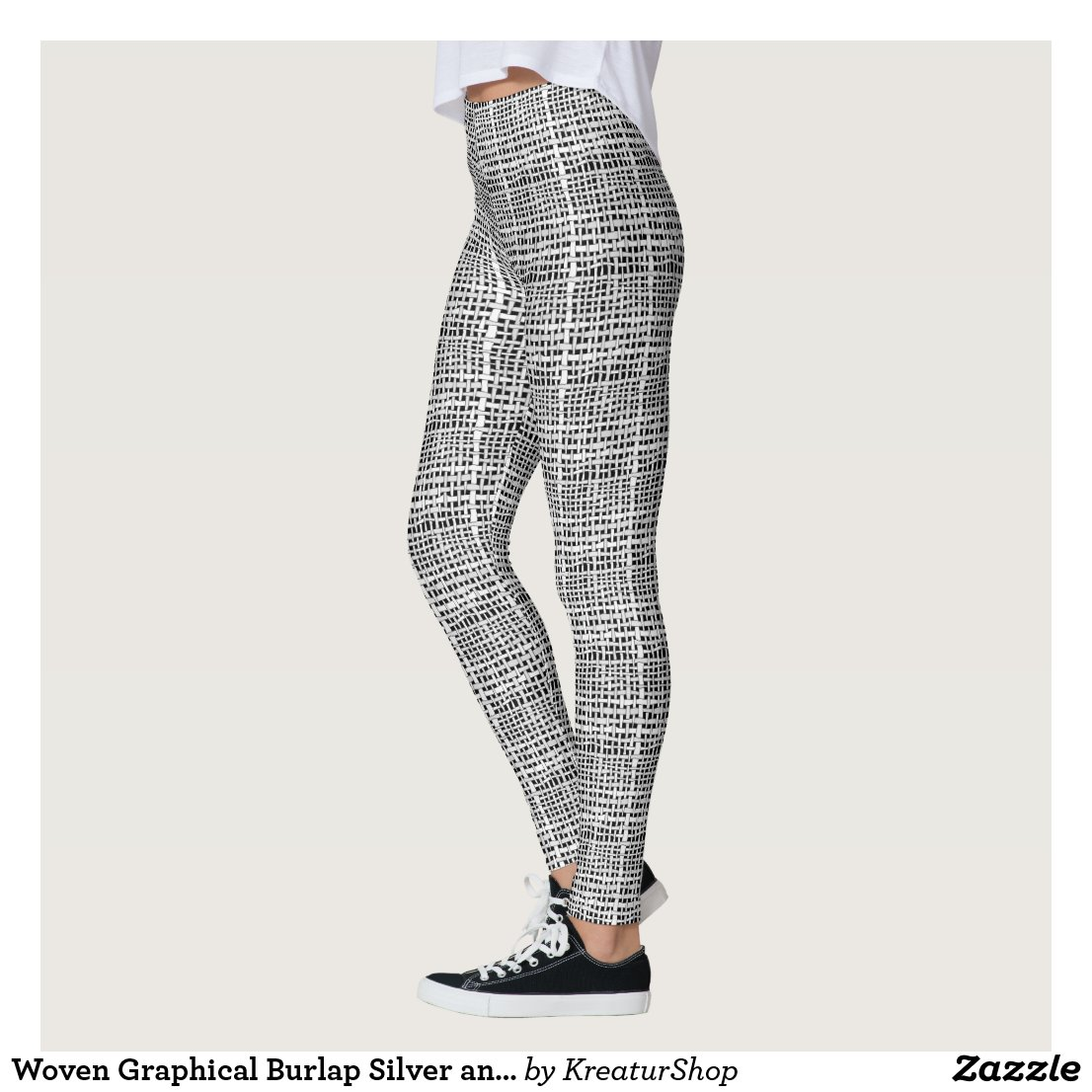 Woven Graphical Burlap Silver and Black