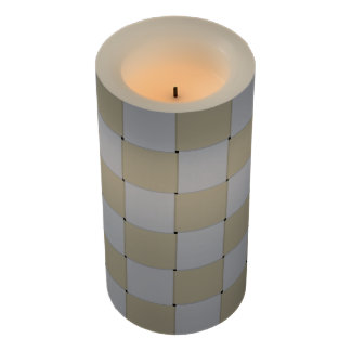 Woven Graphical Checkered Low Key Golden Flameless Candle