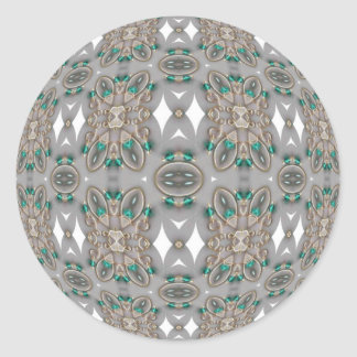 Woven Green Jewels Classic Round Sticker