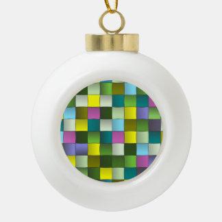 Woven Mosaic Pattern Ceramic Ball Christmas Ornament