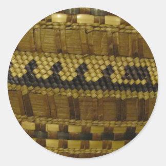 Woven NW Coast Indian Fiber Art Classic Round Sticker