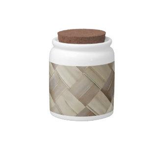Woven Palm Matting Candy Jars