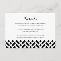 Woven Pattern Black Wedding Insert Details Card