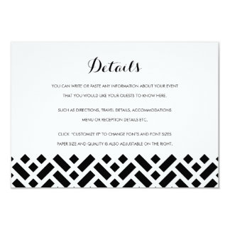 Woven Pattern Black Wedding Insert Details Card
