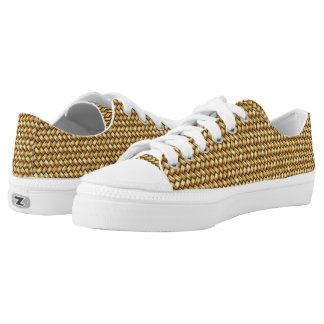 Woven Rafia Effect Sneakers Printed Shoes