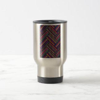 Woven Rainbow Fabric Pattern Travel Mug